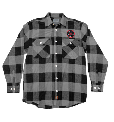 PUCK HCKY 'PENTASTICK' hockey flannel in grey plaid front view
