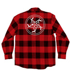 PUCK HCKY 'PENTASTICK' hockey flannel in red plaid back view