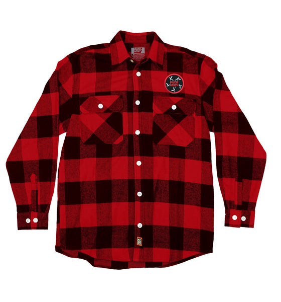 PUCK HCKY 'PENTASTICK' hockey flannel in red plaid front view