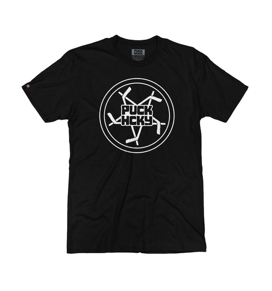 PUCK HCKY 'PENTASTICK' short sleeve hockey t-shirt in black