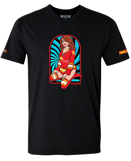 PUCK HCKY 'PIN UPS PUCK YEAH CALGARY' short sleeve hockey t-shirt in black front view