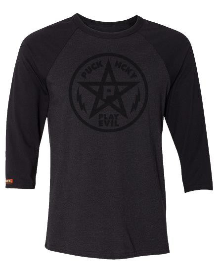 PUCK HCKY 'PLAY EVIL' hockey raglan t-shirt in black heather with black sleeves
