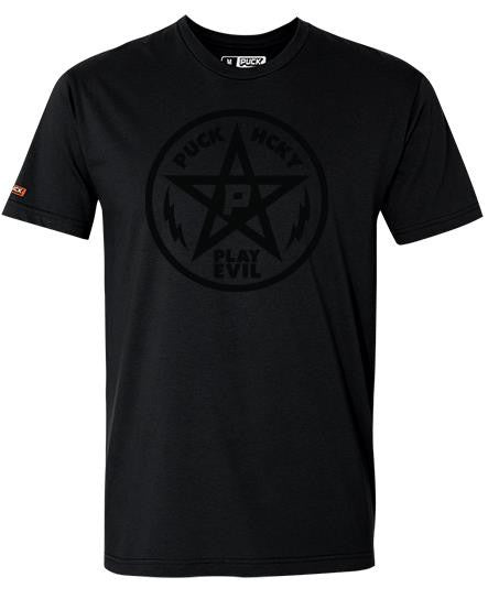 PUCK HCKY 'PLAY EVIL' short sleeve hockey t-shirt in solid black