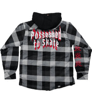 PUCK HCKY 'POSSESSED' zip hockey jacket with hood in black and grey back view