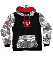 PUCK HCKY 'POSSESSED' pullover hockey hoodie in black, camo, and red front view