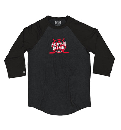 PUCK HCKY 'POSSESSED' hockey raglan t-shirt in black heather with black sleeves front view