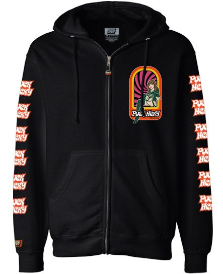 PUCK HCKY 'PUCK PIN-UPS - MIN' full zip hockey hoodie in black