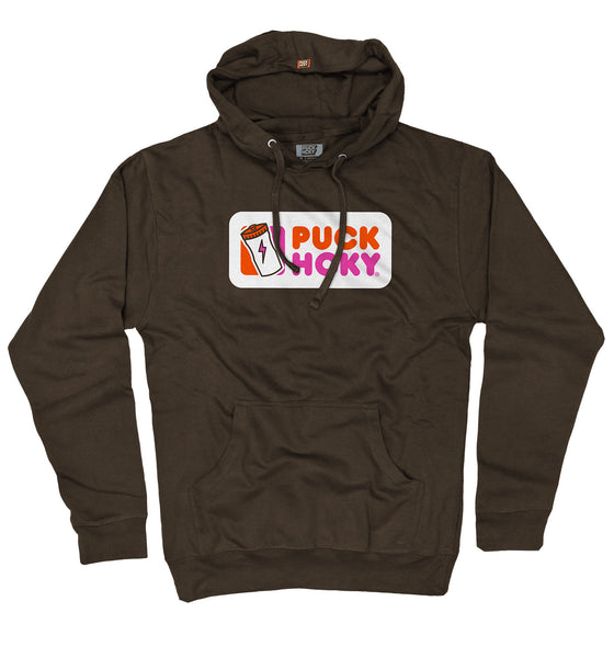 PUCK HCKY 'PUCKIN HCKY' pullover hockey hoodie in dark chocolate parody of Dunkin' Donuts