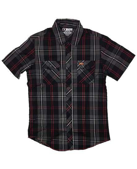 PUCK HCKY 'BODY CHECK' short sleeve plaid hockey button down shirt in red, grey, and black