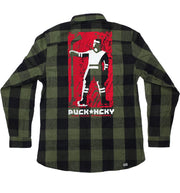 PUCK HCKY 'SALUTE SALUTE' hockey flannel in black and army green plaid back view