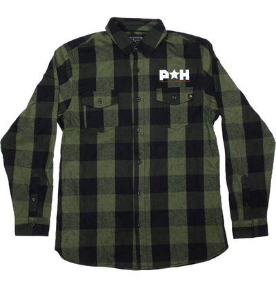 PUCK HCKY 'SALUTE SALUTE' hockey flannel in black and army green plaid front view