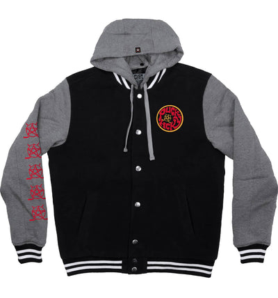 PUCK HCKY 'SHUT UP AND SKATE' insulated hockey letterman-style jacket in black with vintage heather grey sleeves and hood front view