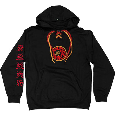 PUCK HCKY 'SHUT UP AND SKATE' laced pullover hockey hoodie in black with red and gold laces with black stripes front view