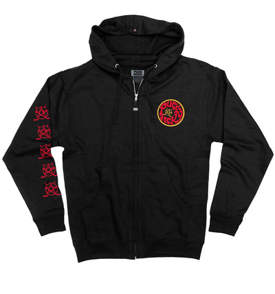 PUCK HCKY 'SHUT UP AND SKATE' full zip hockey hoodie in black front view