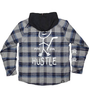 PUCK HCKY 'SIMPLY HUSTLE' quilted flannel zip hockey jacket with hood in grey and light blue back view
