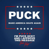 PUCK HCKY 'MAKE AMERICA SKATE AGAIN' short sleeve hockey t-shirt close up of message