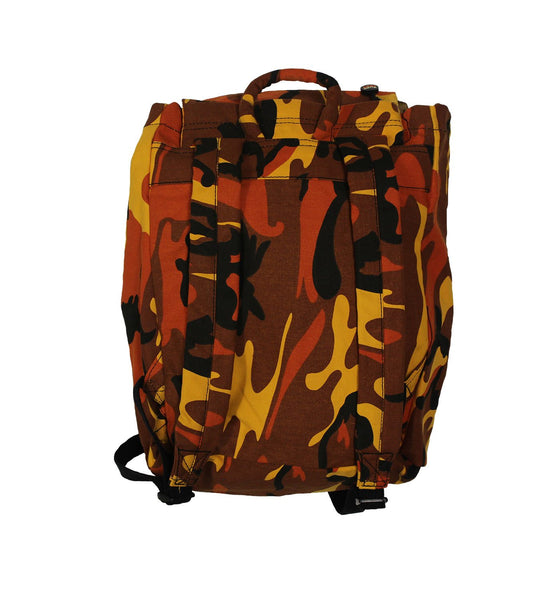 PUCK HCKY 'SKATE MARKS' hockey game-day travel pack in orange camo back view