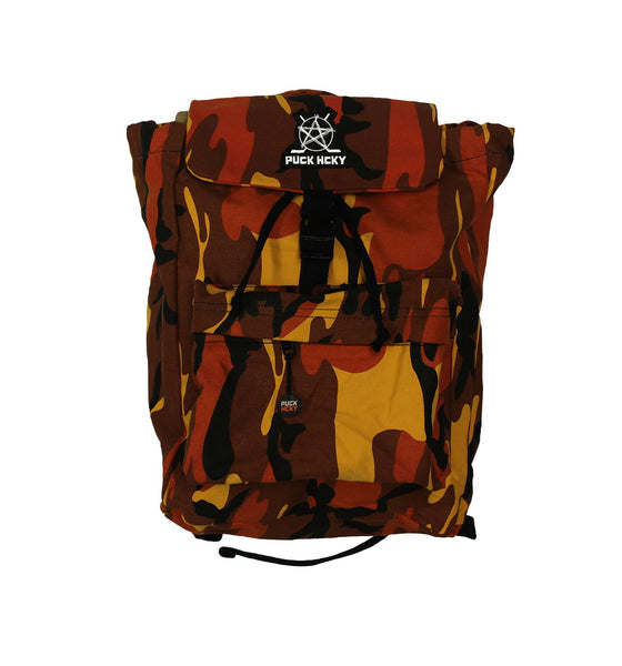 PUCK HCKY 'SKATE MARKS' hockey game-day travel pack in orange camo front view