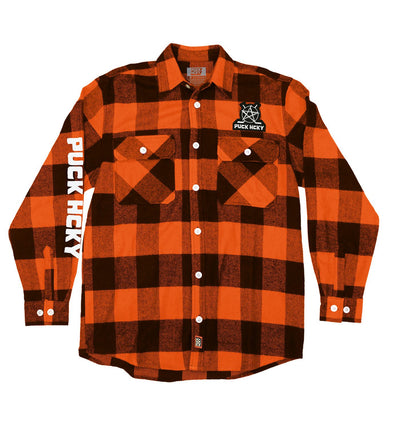 PUCK HCKY 'SKATE MARKS' hockey flannel in orange plaid front view