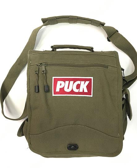PUCK HCKY 'PUCK YEAH' sniper hockey bag in military green front view