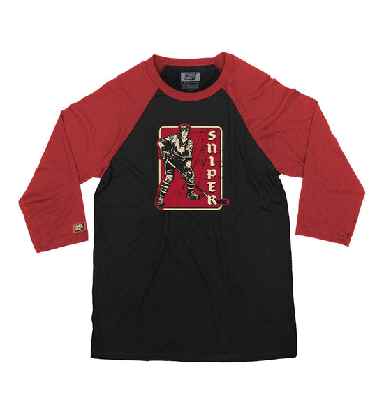 PUCK HCKY 'SNIPER' hockey raglan in black with red sleeves front view