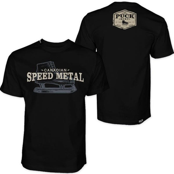 PUCK HCKY 'SPEED METAL' short sleeve hockey t-shirt front and back view