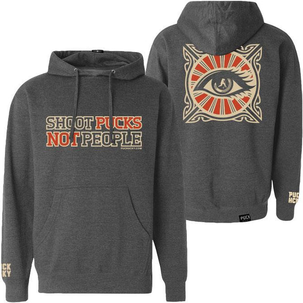 PUCK HCKY 'SHOOT PUCKS NOT PEOPLE - ALL SEEING' pullover hockey hoodie front and back view