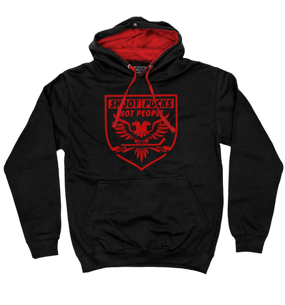 PUCK HCKY 'SHOOT PUCKS NOT PEOPLE - BATTLE EAGLE' pullover colorblock hockey hoodie in black and red