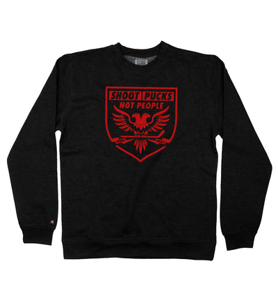 PUCK HCKY 'SHOOT PUCKS NOT PEOPLE - BATTLE EAGLE' crewneck hockey sweatshirt in black