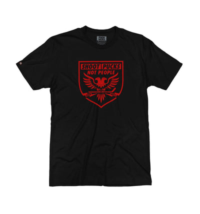 PUCK HCKY 'SHOOT PUCKS NOT PEOPLE - BATTLE EAGLE' short sleeve hockey t-shirt in solid black