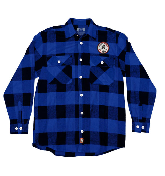 PUCK HCKY 'SHOOT PUCKS NOT PEOPLE' hockey flannel in blue plaid