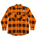 PUCK HCKY 'SHOOT PUCKS NOT PEOPLE' hockey flannel in orange plaid
