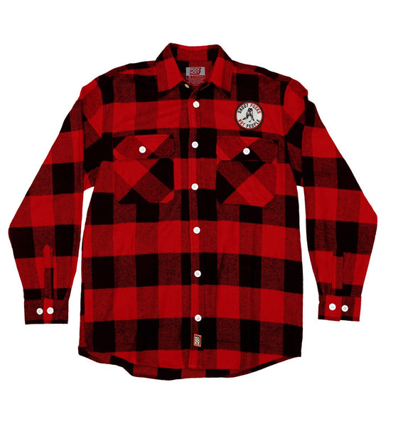 PUCK HCKY 'SHOOT PUCKS NOT PEOPLE' hockey flannel in red plaid
