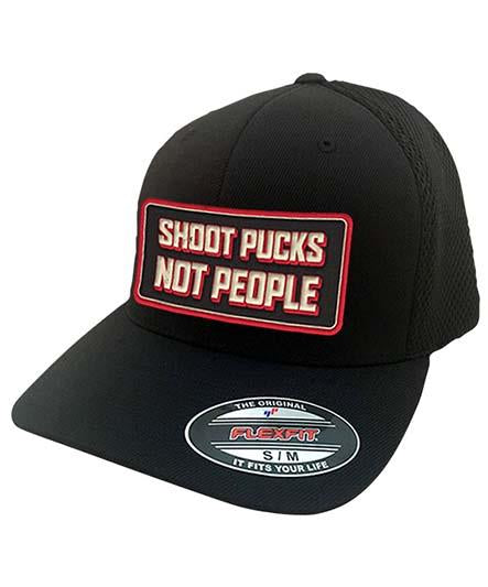 PUCK HCKY 'SHOOT PUCKS NOT PEOPLE' mesh back hockey cap in black with square patch