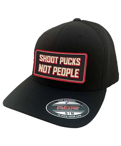 PUCK HCKY 'SHOOT PUCKS NOT PEOPLE' STRETCH FIT HOCKEY CAP (ROUND PATCH-CAMO)