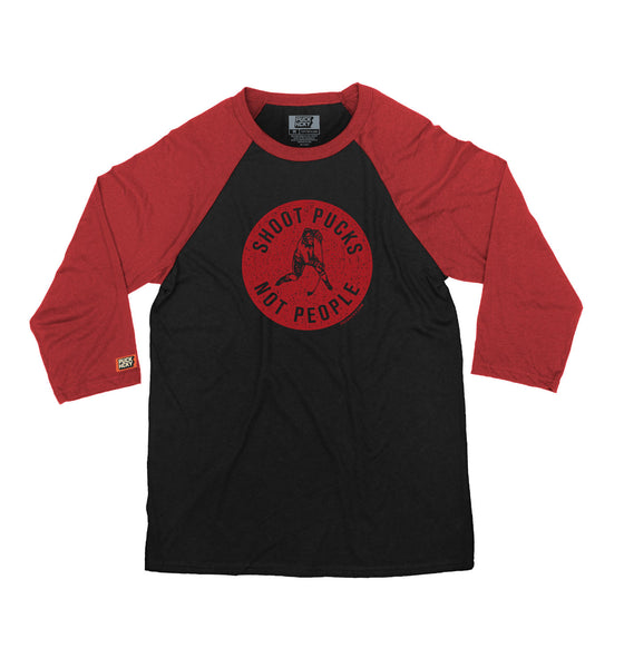 PUCK HCKY 'SHOOT PUCKS NOT PEOPLE - RED BADGE' hockey raglan t-shirt in black and red