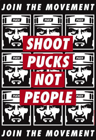 PUCK HCKY 'SHOOT PUCKS NOT PEOPLE' SNAPBACK HOCKEY CAP (square patch)