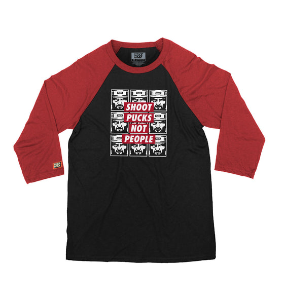 PUCK HCKY 'SHOOT PUCKS NOT PEOPLE - REPEATER' hockey raglan t-shirt in black with red sleeves
