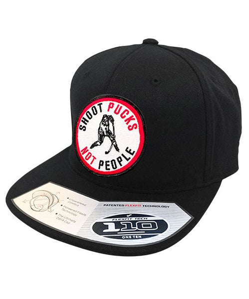 PUCK HCKY 'SHOOT PUCKS NOT PEOPLE' snapback hockey cap in black with round patch