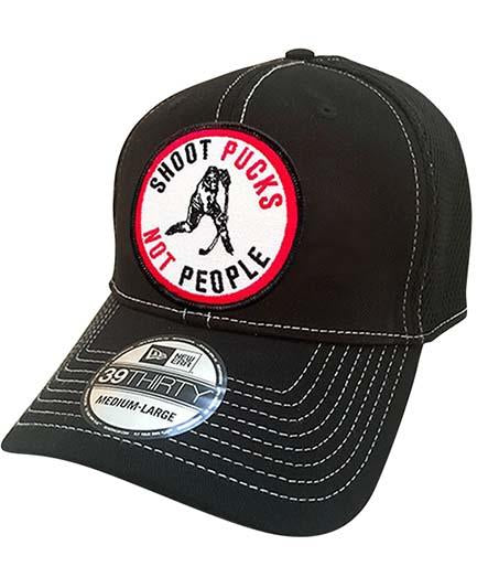 PUCK HCKY 'SHOOT PUCKS NOT PEOPLE' stretch mesh hockey cap in black with contrast stitching and round patch