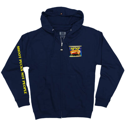 PUCK HCKY 'SHOOT PUCKS NOT PEOPLE - SIZZLE PUCK MMM' full zip hockey hoodie in navy front view