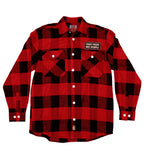 PUCK HCKY 'SHOOT PUCKS NOT PEOPLE-SQUARE PATCH' hockey flannel in red plaid