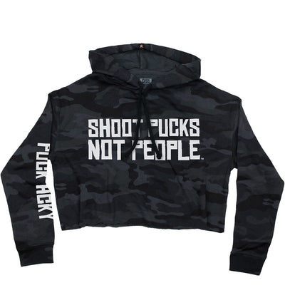 PUCK HCKY 'SHOOT PUCKS NOT PEOPLE - STACKED' women's pullover crop hockey hoodie in black camo