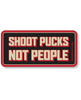 PUCK HCKY 'SHOOT PUCKS NOT PEOPLE BOLD' hockey sticker