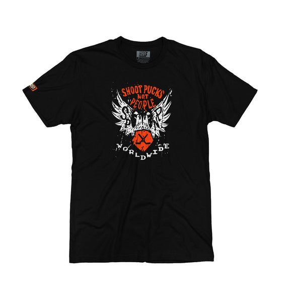 PUCK HCKY 'SHOOT PUCKS NOT PEOPLE - WORLDWIDE' short sleeve hockey t-shirt in solid black