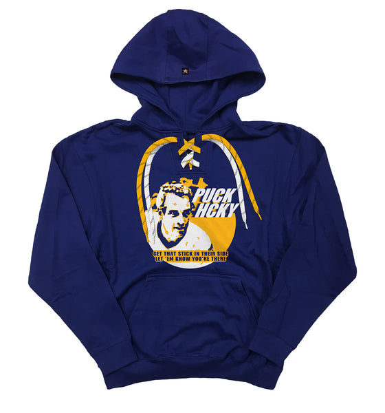 PUCK HCKY 'THE SLAPPER' laced pullover hockey hoodie in royal with gold and white laces with black stripes