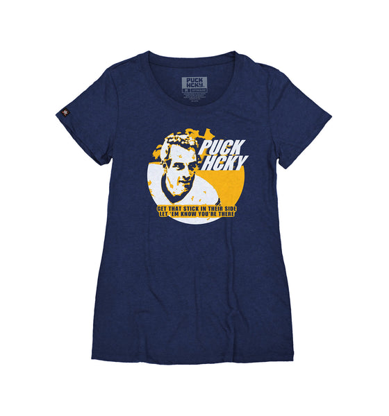 PUCK HCKY 'THE SLAPPER' women's short sleeve hockey t-shirt in navy blue