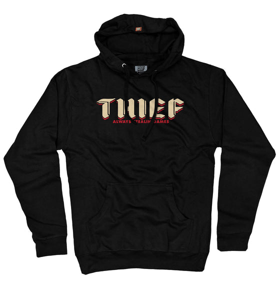 PUCK HCKY 'THIEF' pullover hockey hoodie in black front view