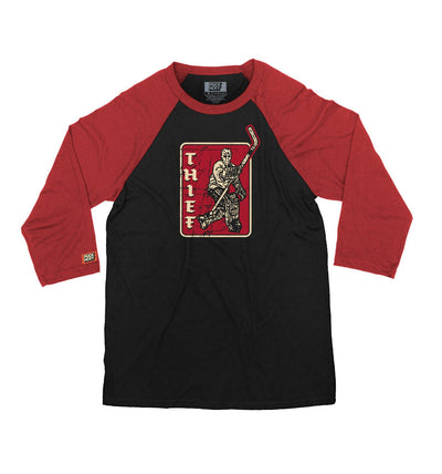 PUCK HCKY 'THIEF' hockey raglan in black with red sleeves front view
