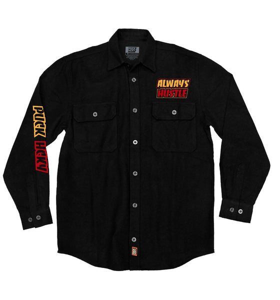 PUCK HCKY 'THRASH HUSTLE' hockey flannel in solid black front view